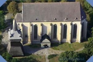 Nyírbátori Református Egyházközség temploma légifotója